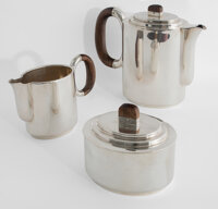 Art Deco German Silver and Wood Coffee Service Set, circa 1930 Manufactured by Jakob Grimminger, Schwäbisch Gmü...