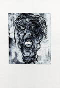 Paintings, Fran Bull (Spain, b. 1938). Lady in Blue. Zinc plate etching on paper, sugar lift process. 35 x 24.5 inches (88.9 x 62.2...