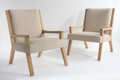 Furniture, Alex & Michael Misczynski (Atelier AM Design) (American, f. 2002). Pair of Upholstered Side Chairs. White oak and cream ... (Total: 2 Items)