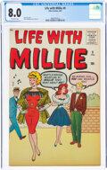 Silver Age (1956-1969):Humor, Life With Millie #9 (Atlas, 1961) CGC VF 8.0 Off-white pages....