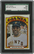 Baseball Cards:Singles (1970-Now), 1972 Topps Willie Mays #49 SGC 92 NM/MT+ 8.5. Beaten only once in166 attempts, this high-grade specimen surfs high atop th...