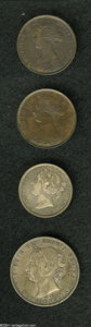 Canada:New Brunswick, Canada: New Brunswick. Victoria 1 Cent 1864 Tall 6, KM6, ExtremelyFine-About Uncirculated; New Brunswick. Victoria 20 Cent 1862,...(Total: 4 coins Item)