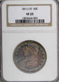 Bust Half Dollars: , 1811/10 50C VF25 NGC. NGC Census: (4/69). PCGS Population (0/62).Numismedia Wsl. Price for NGC/PCGS coin in VF25: $246. (...