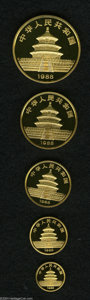 China: , China: Peoples Republic gold Panda Proof Set 1988, KM-PS26, 5-10-25-50-100 Yuan, Y152-156, choice Proof in the case of issue with c... (Total: 5 coins Item)