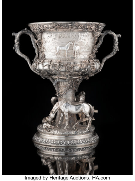 A Gorham Mfg. Co. Silver Horse Racing Trophy: The Horseman Cup , Providence, Rhode Island, 1894 Marks: (lion-an...