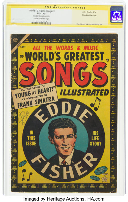 World's Greatest Songs #1 Stan lee File Copy - Signature Series (Atlas, 1954) CGC VG- 3.5 Cream to off-white pages....
