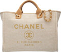 """Luxury Accessories:Bags, Chanel Beige Woven Straw Deauville Tote Bag with Gold Hardware. Condition: 1. 15.2"""" Width x 13"""" Height x 8"""" Depth. ..."""