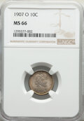 1907-O 10C MS66 NGC. NGC Census: (15/2). PCGS Population: (16/2). CDN: $1,400 Whsle. Bid for NGC/PCGS MS66. Mintage 5,05...