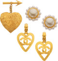 Luxury Accessories:Accessories, Chanel Set of Three: Gold Brooch and Earrings. Condition: 3. See Extended Condition Report for Sizes.. ... (Total: 3 )