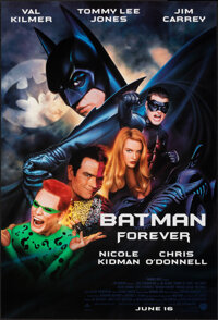 """Batman Forever (Warner Bros., 1995). Rolled, Very Fine+. One Sheets (5) Identical (27"""" X 40"""") SS, John Alvin a..."""