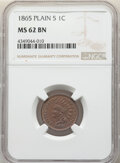 Indian Cents: , 1865 1C Plain 5 MS62 Brown NGC. NGC Census: (76/221). PCGS Population: (21/88). CDN: $110 Whsle. Bid for NGC/PCGS MS62. ...