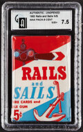 Non-Sport Cards:Unopened Packs/Display Boxes, 1955 Topps Rails and Sails 5-Cent Wax Pack GAI NM+ 7.5. ...