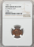 Errors, 1980 1C Lincoln Cent -- Elliptical Clip (1.6g) -- MS65 Brown NGC....