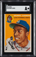 Baseball Cards:Singles (1950-1959), 1954 Topps Hank Aaron #128 SGC Authentic....