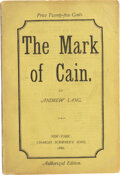 """Books:Mystery & Detective Fiction, Andrew Lang. The Mark of Cain. New York: Charles Scribner's Sons, 1886. First American (""""Authorized"""") edition. ..."""