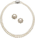 Estate Jewelry:Suites, Diamond, Cultured Pearl, Mabe Pearl, Platinum, White Gold Jewelry Suite, Ruser. ... (Total: 2 Items)