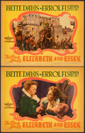 """Movie Posters:Swashbuckler, The Private Lives of Elizabeth and Essex (Warner Bros., 1939). Very Fine+. Linen Finish Lobby Cards (2) (11"""" X 14""""). Swashbu... (Total: 2 Items)"""