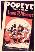 "Movie Posters:Animation, Popeye the Sailor: Learn Polikeness (Paramount, 1938). Fine on Linen. One Sheet (28"" X 41.25"").. ..."