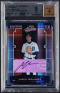 Baseball Cards:Singles (1970-Now), 2005 Playoff Absolute Memorabilia Spectrum Silver Justin Verlander Autograph #142 BGS Mint 9, Auto 9 - Serial Numbered 89/150....