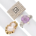Estate Jewelry:Rings, Diamond, Amethyst, Cultured Pearl, Gold Rings . ... (Total: 3 Items)
