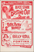 Movie Posters:Adult, Blaze Starr Goes Nudist/Pistol Packin' Nudist/Belly Roll Combo (Pepe Productions, R-1960s). Folded, Very Fine-. One Sheet (2...