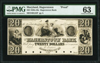 Hagerstown, MD- Hagerstown Bank $20 18__ G52 Shank 60.7.39 P Proof PMG Choice Uncirculated 63