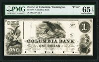 Washington, DC- Columbia Bank $1 185_ as G2 Proof PMG Gem Uncirculated 65 EPQ