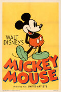"Movie Posters:Animation, Mickey Mouse Stock Poster (United Artists, 1933). Fine+ on Linen. Stock One Sheet (27.25"" X 41"").. ..."