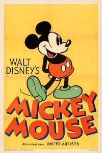 """Mickey Mouse Stock Poster (United Artists, 1933). Fine+ on Linen. Stock One Sheet (27.25"""" X 41"""")"""