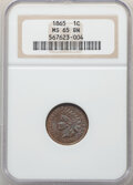 Indian Cents: , 1865 1C Plain 5 MS65 Brown NGC. NGC Census: (33/0). PCGS Population: (7/0). CDN: $500 Whsle. Bid for NGC/PCGS MS65. ...