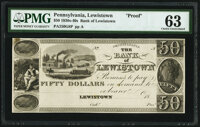 Lewistown, PA- Bank of Lewistown $50 18__ as G8 Hoober as 192-6 Proof PMG Choice Uncirculated 63