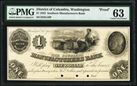 Washington, DC- Southern Manufacturers Bank $1 Apr. 15, 1852 as G10 Proof PMG Choice Uncirculated 63