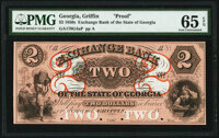 Griffin, GA- Exchange Bank of the State of Georgia $2 18__ as G4a Proof PMG Gem Uncirculated 65 EPQ