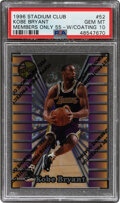Basketball Cards:Singles (1980-Now), 1996 Stadium Club Kobe Bryant (Members Only 55-With Coating) #52 PSA Gem Mint 10....