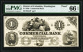 Washington City, DC- Commercial Bank $1 Sep. 1, 185__ as G2 Proof PMG Gem Uncirculated 66 EPQ