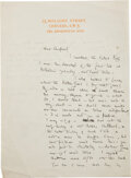 Books:Manuscripts, A. A. Milne. Autograph letter signed to E. H. Shepard. London, no date [but likely 1926]....