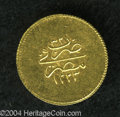 Egypt: , Egypt: Mahmud II gold 20 Piastres 1223AH Year 32, KM215, choice AU,razor sharp details. The final year of this long reign. Rare ty...