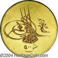 Egypt: , Egypt: Abdul Hamid II gold 500 Piastres 1293AH Year 6, KM286,choice lustrous AU, extremely bold strike and a problem-freeplanchet...