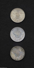 Egypt: , Egypt: Abdul Hamid II 10 Piastres 1293AH, KM295, regnal years 10,choice toned UNC, Year 11, lustrous XF+, and Year 15, choicetone... (Total: 3 coins Item)