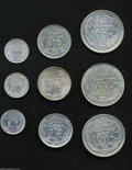 Egypt: , Egypt: British Occupation Silver Types 1916-1917, KM317.1 2Piastres 1916 and 1917, both XF, KM317.2 1917H, UNC, KM318.1 5Piastres... (Total: 9 coins Item)