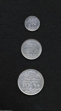 Egypt: , Egypt: Sultan Fuad Silver Type Set 1920H, KM325 2 Piastres, cleanedVF-XF, very scarce, KM326 5 Piastres, VF+ lightly dipped, and K...(Total: 3 coins Item)