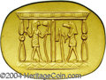 Egypt: , Egypt: Egyptian Motif Gold Medal, this uniface oval-shaped medalfeatures an Egyptian design from the era of the Pharaohs, and isa...