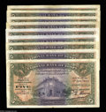 Egypt: , Egypt: 5 Pounds 1940-1942 Date Collection, P19c, Nixon signature.Nine different dates ranging from Fine to VF+. All are the large... (Total: 9 notes Item)
