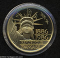 France: , France: Gold 100 Francs 1986, KM960b, choice Proof in the case of issue with certificate. Statue of Liberty....