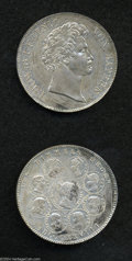 """German States:Bavaria, German States: Bavaria. Ludwig I Die Trials 1828, KM386, Talercommemorating """"the Blessings of Heaven on the Royal Family.""""Obverse and rev... (Total: 2 coins Item)"""