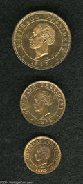 Haiti: , Haiti: Republic Proof Trio 1863, KM39-41, the 5, 10 and 20Centimes. Nice VIP Specimens from the Heaton Mint Collection,lightly to... (Total: 3 coins Item)