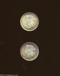 Hong Kong: , Hong Kong: A pair of Unc. 1874H 5 Cents, KM5, both with gold, green, and blue toning.. From the Professor Wayne Newton Palmer Collect... (Total: 2 coins Item)