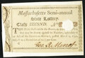 Colonial Notes:Massachusetts, Massachusetts Semi-Annual State Lottery 1 Second Class Lottery Ticket Mar. 2, 1790 Choice About New, backed, HOC.. ...