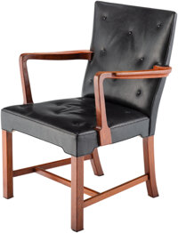 Jacob Kjær (Danish, 1896-1957) Armchair, circa 1955 Teak, leather 35 x 24-1/2 x 22-1/2 inches (88