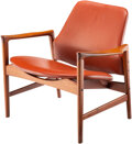 Furniture, Ib Kofod-Larsen (Danish, 1921-2003). Lounge Chair, circa 1955. Teak, leather . 26-3/4 x 30-1/4 x 25 inches (67.9 x 76.8 ...